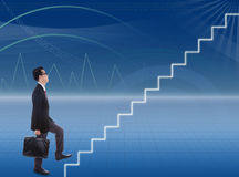 Businessman climbs stairways. While bring case Stock Photo