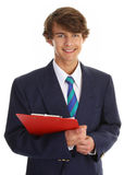 Businessman with clipboard Stock Image
