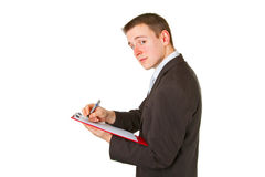 Businessman with clipboard Royalty Free Stock Photography