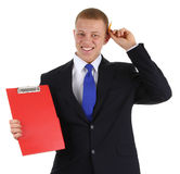 Businessman with a clipboard Royalty Free Stock Photo