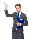 Businessman with clipboard and hand present. Isolated on white background Stock Image