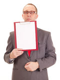 Businessman with clipboard Stock Photos