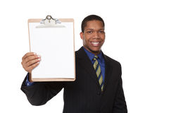 Businessman - clipboard questionnaire Royalty Free Stock Photos