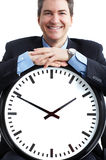 Businessman and clock Royalty Free Stock Image