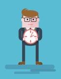 Businessman_with_clock 免版税库存图片