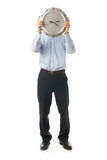 The businessman with clock isolated on a white Royalty Free Stock Images