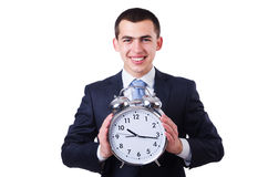 Businessman with clock Stock Photo