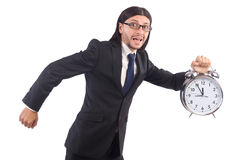 Businessman with clock isolated Stock Photography