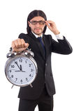 Businessman with clock isolated Royalty Free Stock Photography