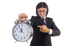 Businessman with clock isolated Royalty Free Stock Image