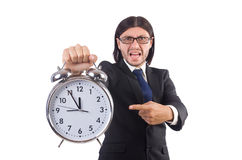 Businessman with clock isolated Stock Photo