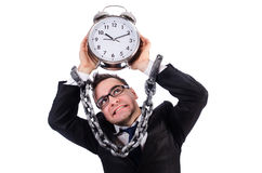 Businessman with clock isolated Stock Image