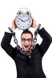 Businessman with clock isolated Royalty Free Stock Images