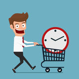 Businessman with clock in shopping cart . Buy time concept. Cartoon Vector Illustration Stock Image