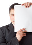 Businessman close the eye from papper Stock Image
