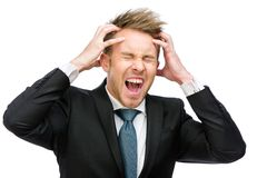 Businessman with closed eyes putting hands on head shouts Stock Photos