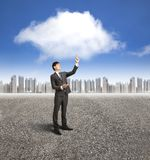 Businessman with cloud computin Stock Images