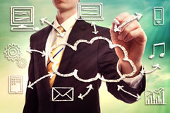 Businessman with cloud computing concept Royalty Free Stock Images