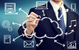 Businessman drawing cloud computing concept Royalty Free Stock Photos