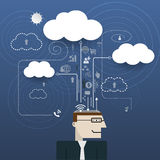 Businessman with cloud computing network information space Stock Photography