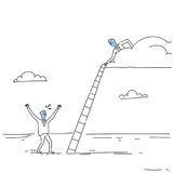 Businessman On Cloud Hold Ladder Stairs To Climb Up Team Cooperation Concept Doodle. Vector Illustration stock illustration