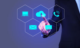 Businessman cloud icon of the working group on virtual screen Royalty Free Stock Photo