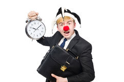 Businessman clown in funny concept isolated Royalty Free Stock Image