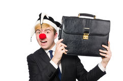 Businessman clown in funny concept isolated Royalty Free Stock Photos