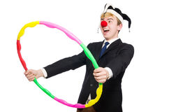 Businessman clown in funny concept isolated Stock Photo