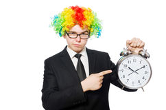 Businessman clown in funny concept isolated Stock Images