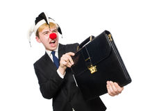 Businessman clown in funny concept isolated Royalty Free Stock Images