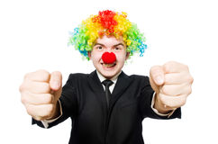 Businessman clown in funny concept isolated Royalty Free Stock Photography