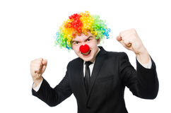 Businessman clown in funny concept isolated Royalty Free Stock Photo