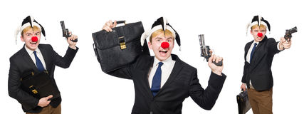The businessman clown in funny concept isolated on white Royalty Free Stock Image