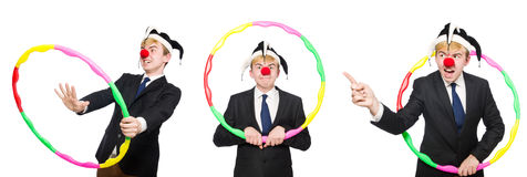 The businessman clown in funny concept isolated on white Stock Photo