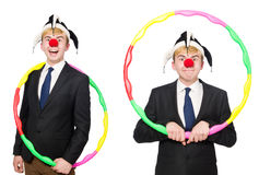 The businessman clown in funny concept isolated on white Stock Image