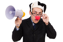 Businessman clown with loudspeaker Royalty Free Stock Photo