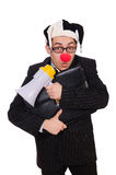 Businessman clown with loudspeaker Stock Photo