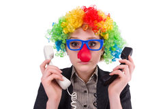 Businessman with clown wig Royalty Free Stock Image