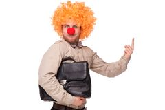 Businessman with clown wig and nose Stock Images