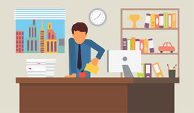 Businessman on coffee break. Business office workplace vector illustration. Royalty Free Stock Images