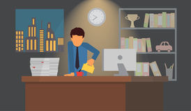 Businessman on coffee break. Business office workplace vector illustration. Businessman late at night drinking coffee. Tired man in office. Business workplace Royalty Free Stock Image