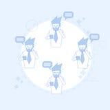 Businessman On Coffee Break Smart Phone Talk Chat Bubble Communication Royalty Free Stock Photography