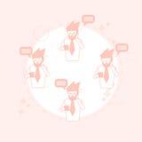 Businessman On Coffee Break Smart Phone Talk Chat Bubble Communication Royalty Free Stock Photos