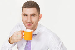 Businessman with coffee Royalty Free Stock Image