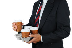 Businessman with coffee tray Royalty Free Stock Photo