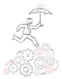 Businessman Cog. Stick businessman juggling tasks concept Royalty Free Stock Image