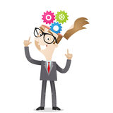 Businessman cog wheel thinking process. Vector illustration of a cartoon character: Businessman pointing at cog wheels in his head Stock Photo