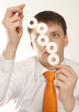 Businessman with cogwheel Royalty Free Stock Photos