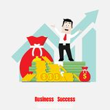 Businessman with Coin and dollar banknotes royalty free illustration